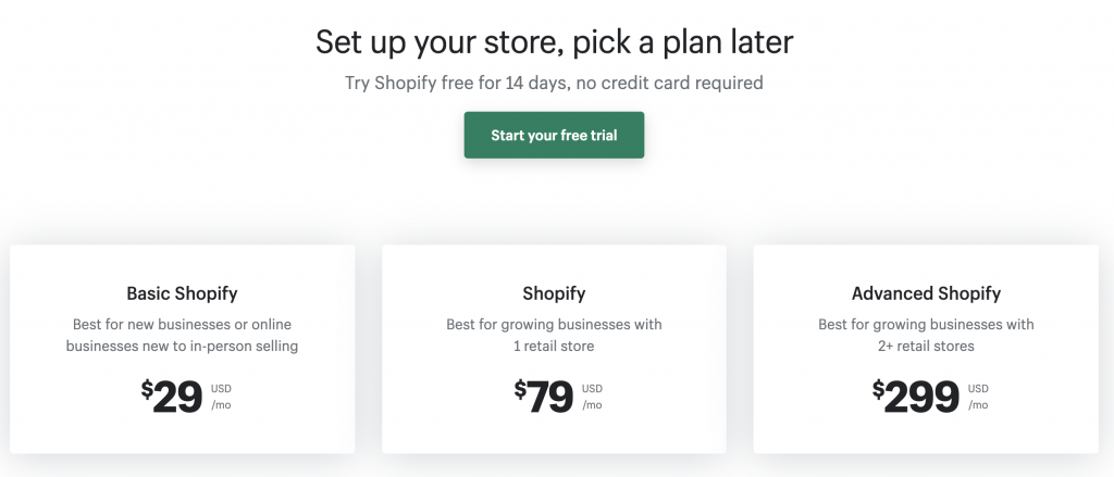 sshopify pricing interface picture