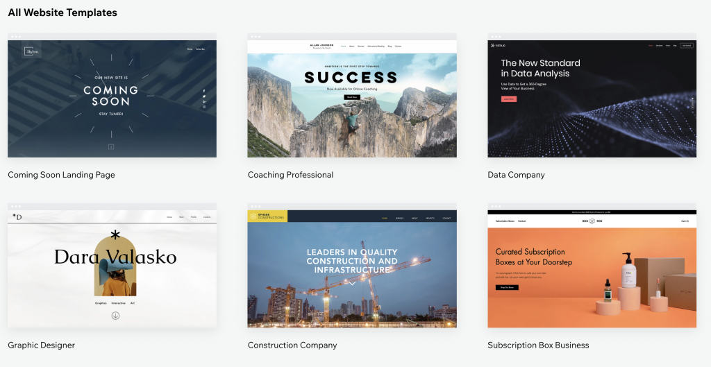 all wix templates interfaces for create a free website