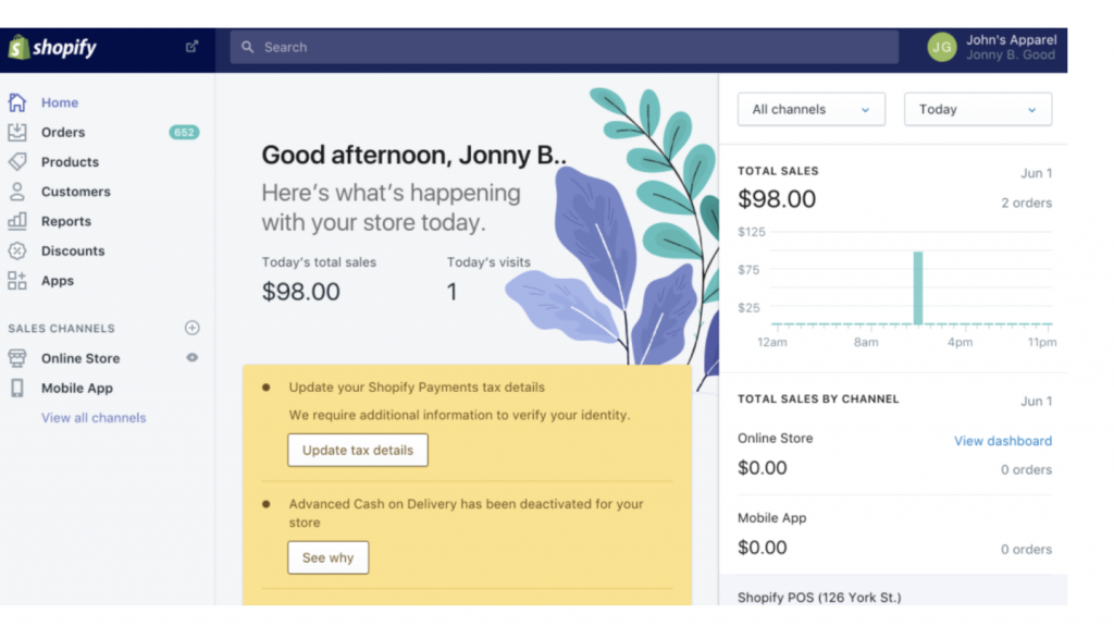 shopify home page interface