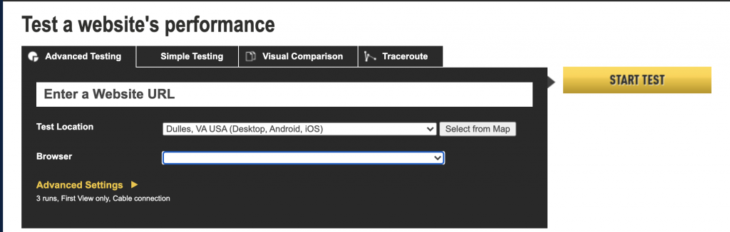 test a website's performance in mode simple or advance interface pic