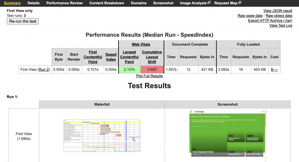webpage test performance results pic