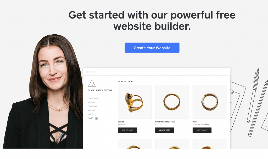 weebly start creating your free website interface
