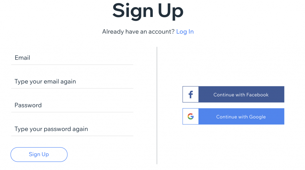wix sign up interface